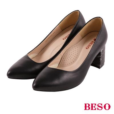 BESO 完美視覺 大理石紋雲彩粗跟跟鞋~黑