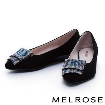 MELROSE-斑馬紋配色晶鑽設計釦飾羊麂皮尖頭楔