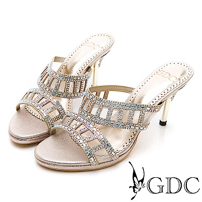GDC-特殊方孔水鑽性感閃耀低跟拖鞋-金色