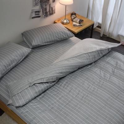絲薇諾 207織精梳棉-換日線-灰色 兩用被套床包組(雙人加大)