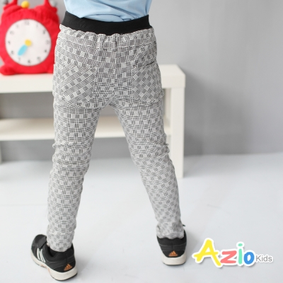Azio Kids 童裝-長褲 幾何格紋口袋鬆緊長褲(格紋)