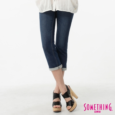 SOMETHING 七分褲 後袋釘鑽牛仔褲-女-中古藍