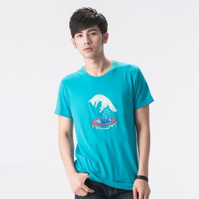 【SNOWFOX 雪狐】新銳插畫家劉經瑋聯名圖T恤/男款短袖 AT-81625 藍