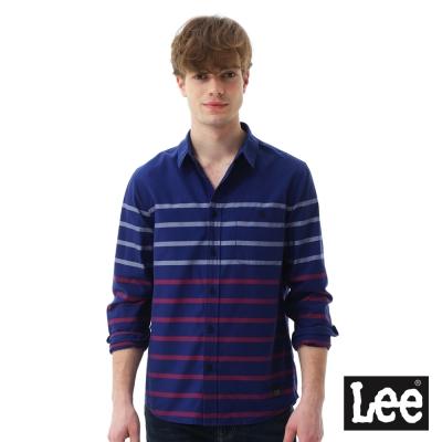 Lee 休閒條紋長袖襯衫-男款-藍色