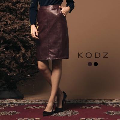 東京著衣-KODZ經典系歐美部落客質感後開衩設計皮裙-S.M.L(共二色)
