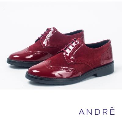 ANDRE-英倫風雕花繫帶平底鞋-亮眼紅