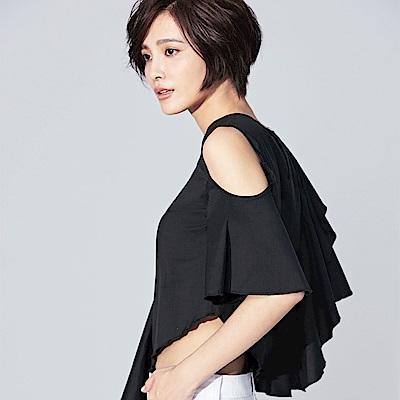 SUITANGTANG 荷葉襬挖肩短上衣-共2色-黑色