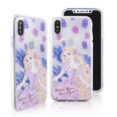 Disney迪士尼iPhone X施華洛世奇水鑽雙料保護殼_公主手繪長髮公主