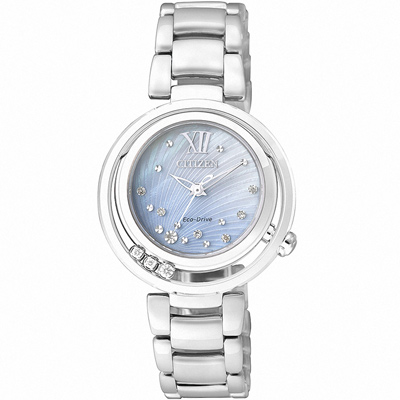 CITIZEN L 光動能 銀河星空美境真鑽腕錶(EM0327-50D)-藍貝/29mm