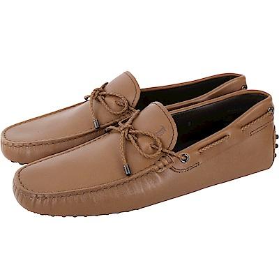 TOD'S Gommino 滑皮編織綁帶豆豆休閒鞋(男鞋/棕色)