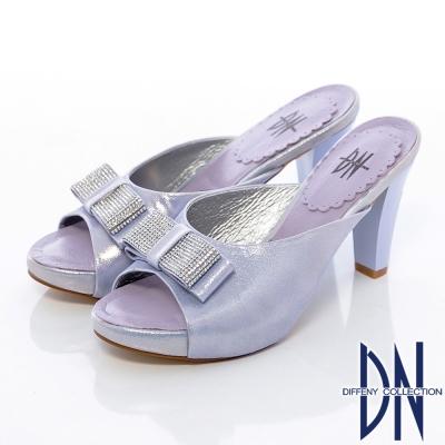 DN-典雅氣質-水鑽蝴蝶結牛皮珠光高跟拖鞋-紫