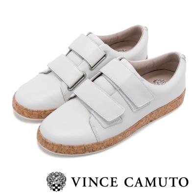 VINCE CAMUTO 輕盈時尚 雙帶金屬扣魔鬼氈平底鞋-白色