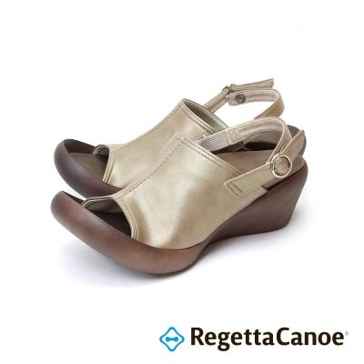 RegettaCanoe-復古大魚口 楔型樂步鞋-淡褐色
