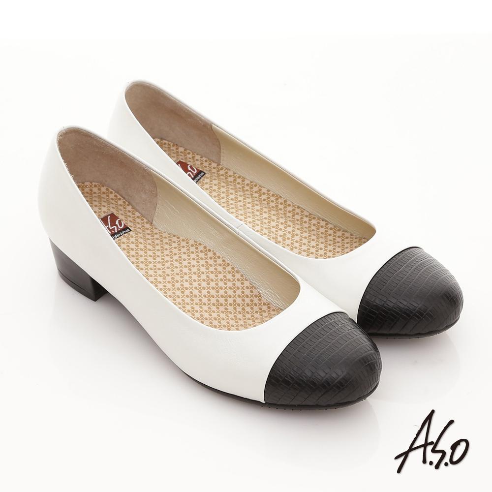 A.S.O 舒活系列 全真皮壓紋拼接粗跟鞋 白