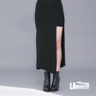 古著 假二件短裙拼接側邊大開叉棉質長裙