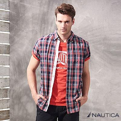 Nautica美式休閒格紋短袖襯衫-紅藍