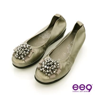 ee9 璀璨奢華~繽紛鑽飾小牛皮質感氣墊式娃娃鞋~奢華灰