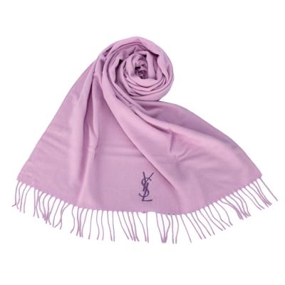 YSL 刺繡LOGO素面流蘇披肩禮盒(紫色)