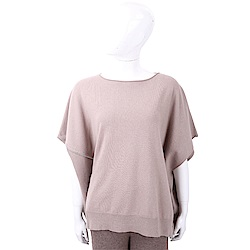 FABIANA FILIPPI 喀什米爾捲邊細節卡其棕美麗諾羊毛罩衫