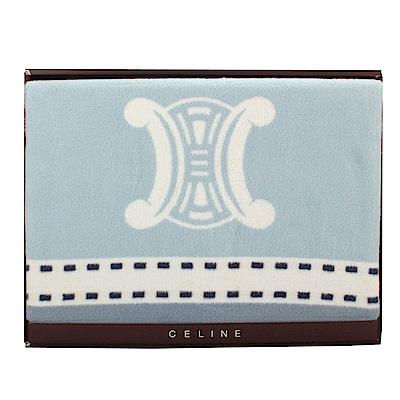 【CELINE】經典皇家BLASON LOGO純棉毛蓋毯禮盒(水藍色)