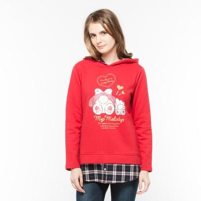Hang Ten - 女裝 - Kitty仿兩件式格紋印花上衣 - 紅