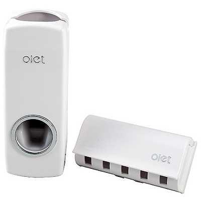 OLET真空擠壓自動擠牙膏器附牙刷掛架2入超值組(OLETX2)