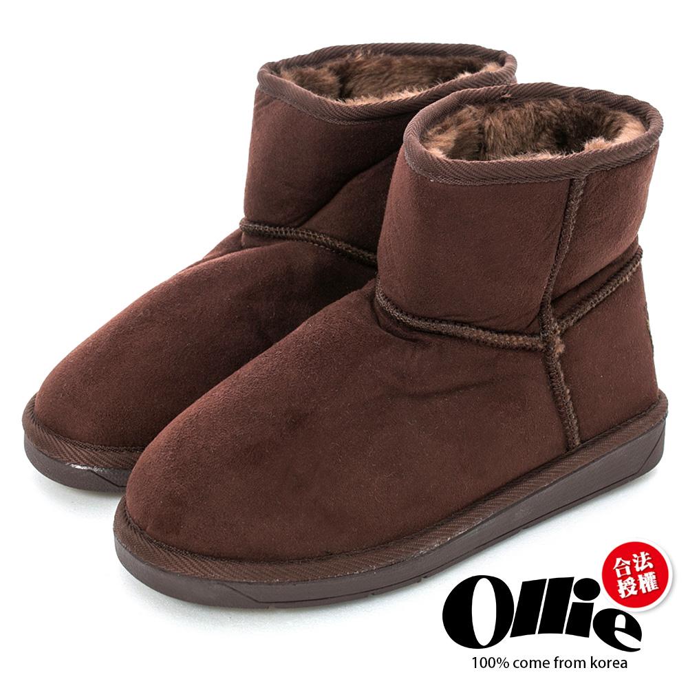 Ollie韓國空運-正韓製經典款布標平底短筒雪靴-咖