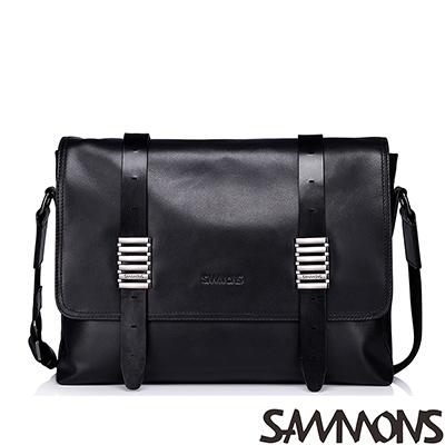 SAMMONS-真皮賈斯汀個性釦飾斜背包-摩登黑