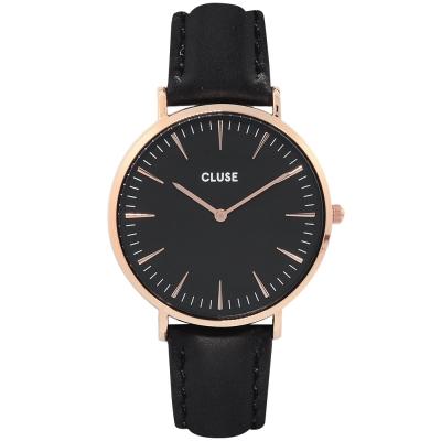 CLUSE 波西米亞玫瑰金系列 黑錶盤/黑皮革錶帶38mm
