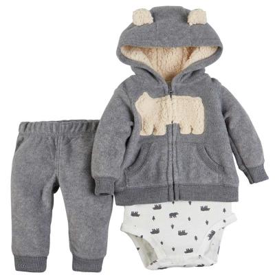 Carters 美國 灰色北極熊內舖毛外套套裝3件組
