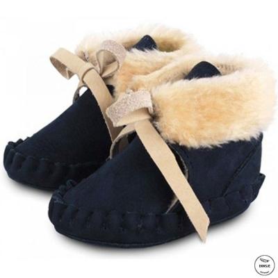 Donsje 荷蘭 海軍藍款內刷毛蝴蝶結真皮寶寶綁帶靴子
