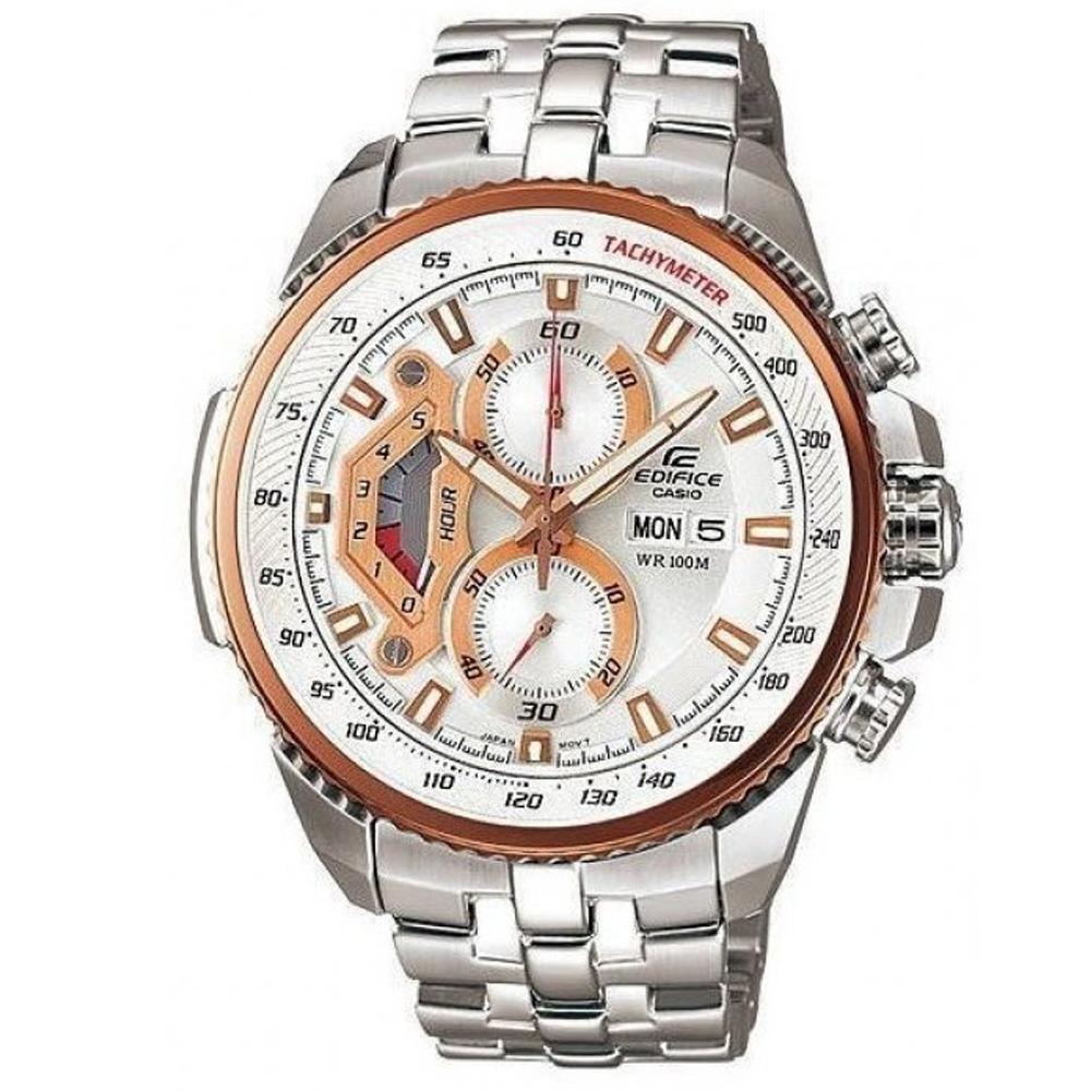 EDIFICE 新美學大錶面計速計時賽車錶(EF-558D-7A)-白/49.3mm