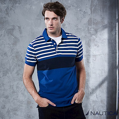Nautica 夏日撞色短袖POLO衫 -藍