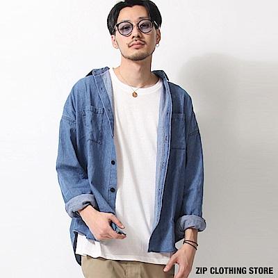 寬版丹寧牛仔襯衫(2色) ZIP日本男裝