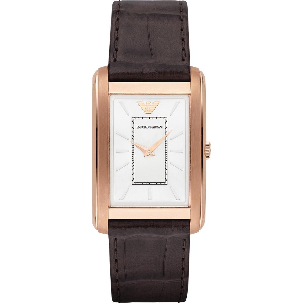 Emporio Armani 經典紳士錶-白x玫瑰金框/32mm