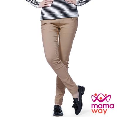 孕婦褲 長褲 孕期內刷毛彈力色褲(多色) Mamaway
