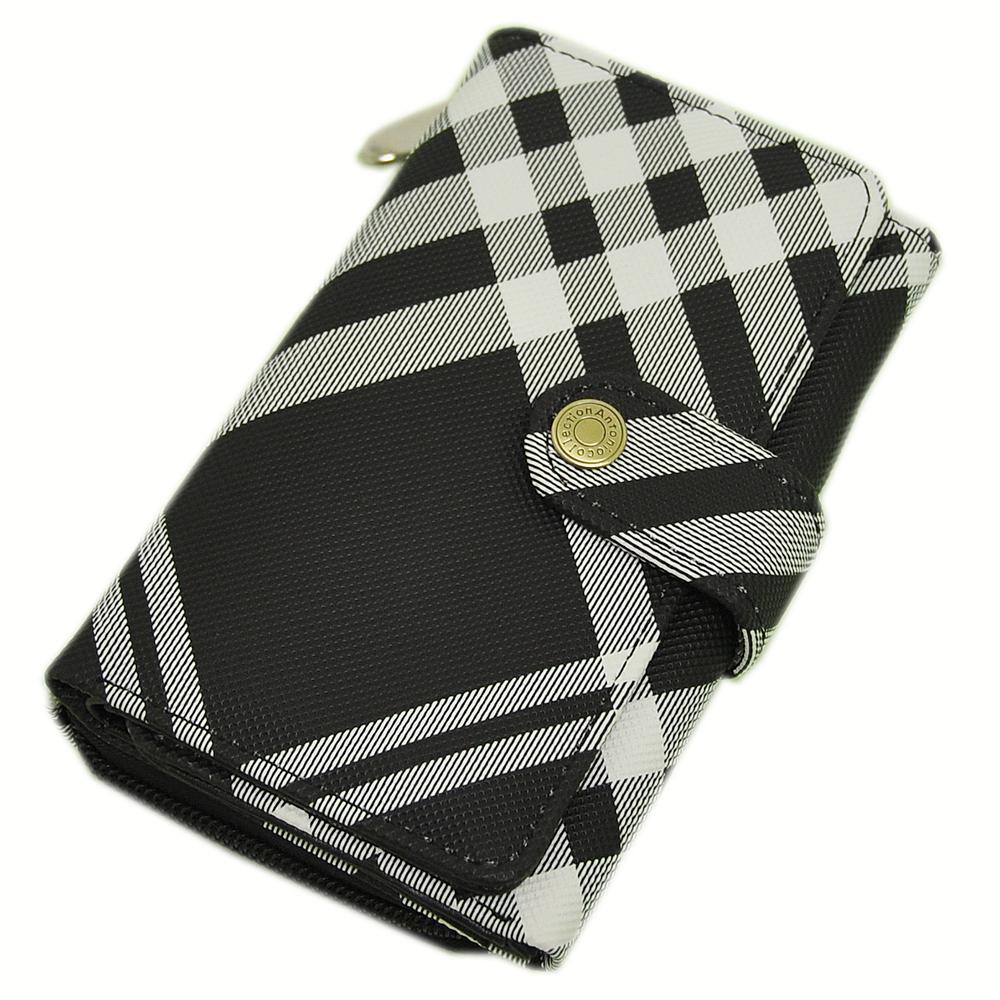 Miyo英倫學院風黑白格釘釦雙摺拉鍊中夾 @ Y!購物