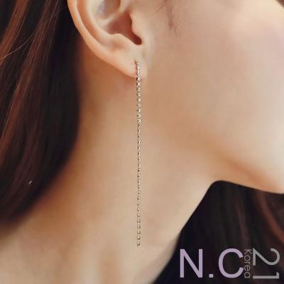 N.C21-正韓 亮鑽長條耳針式耳環(銀色)
