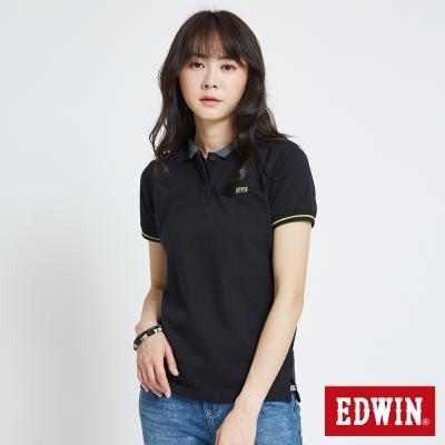 EDWIN 配色領簡約POLO衫-女-黑色