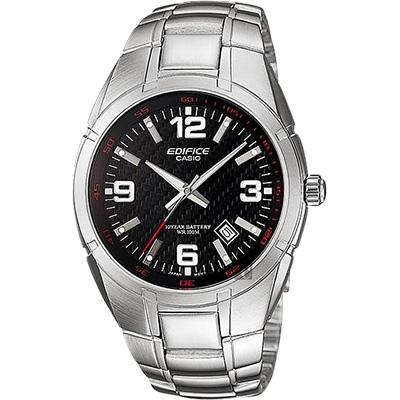 CASIO卡西歐 EDIFICE 三針系列手錶-黑x銀/48.7mm