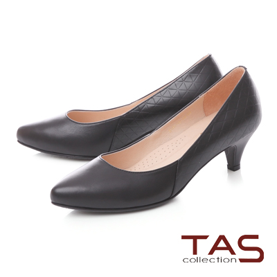 TAS質感鑽石壓紋拼接高跟鞋-經典黑