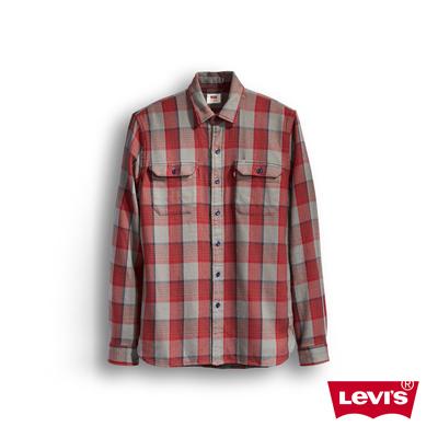男款純棉紅白藍格紋長袖襯衫-Levis