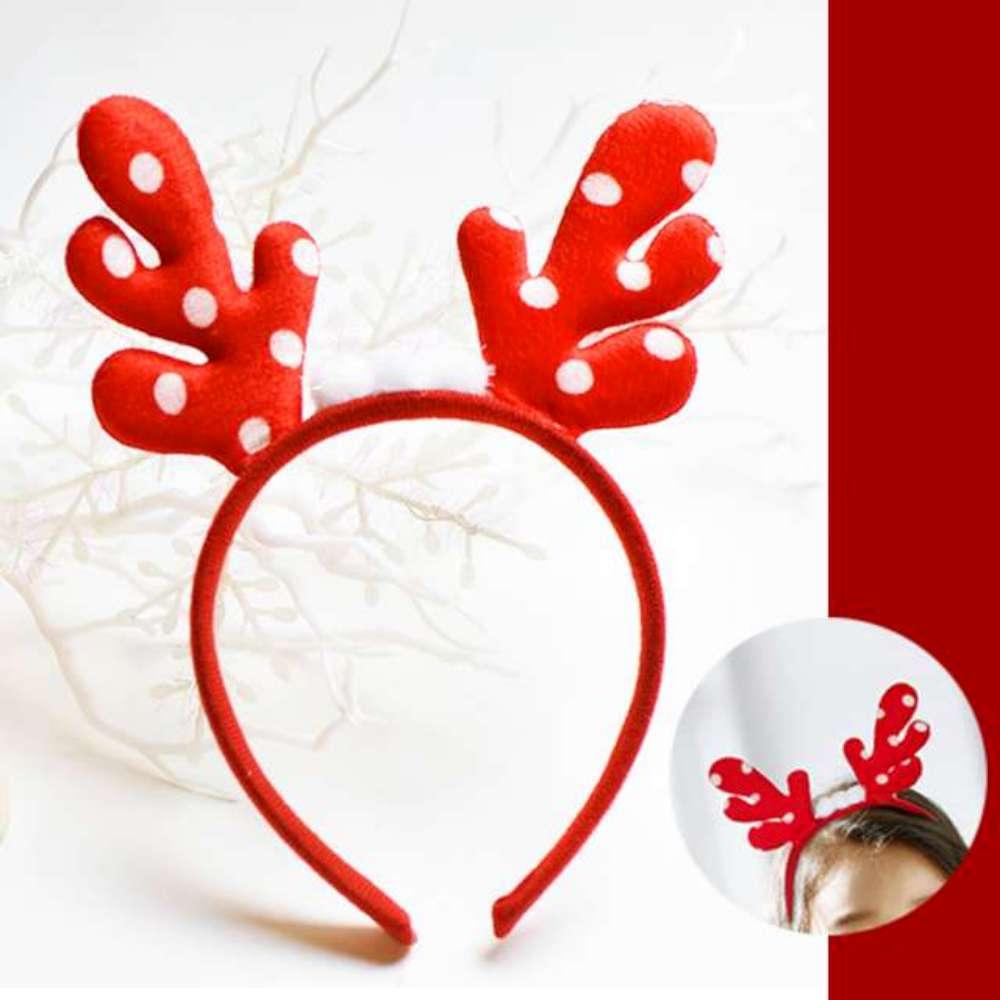 可愛聖誕紅色圓點鹿角髮箍