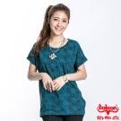 BOBSON 女款印花雪紡短袖上衣(藍綠23112-02)