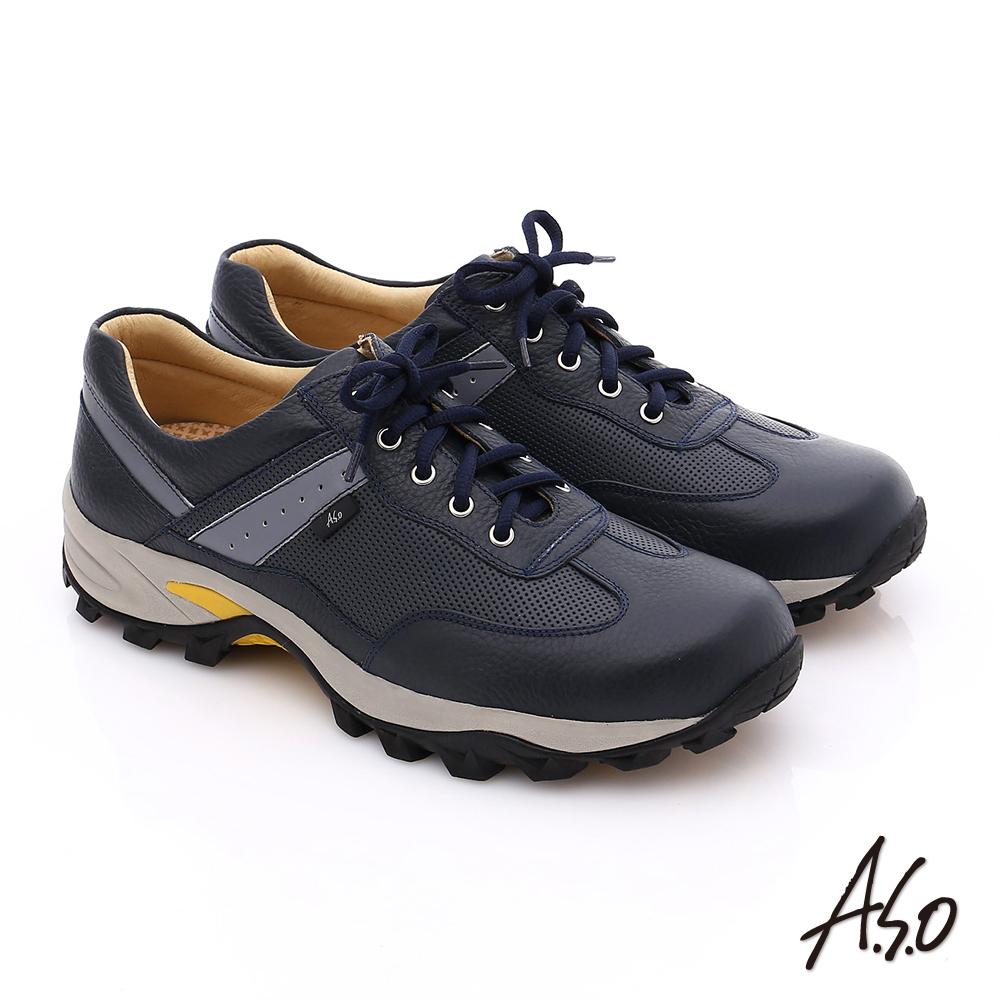 A.S.O 前彈性後避震II 壓紋牛軟皮綁帶奈米休閒鞋 深藍