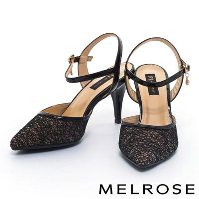 跟鞋-MELROSE-墜飾層次網布繫帶造型牛漆皮尖