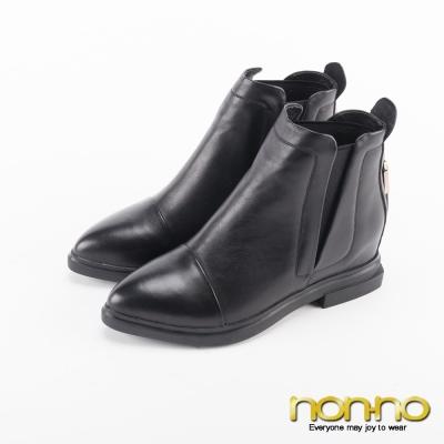 nonno 率性拉鍊造型尖頭短靴