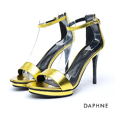 達芙妮DAPHNE 涼鞋-一字亮澤繞踝前高後高涼鞋-黃