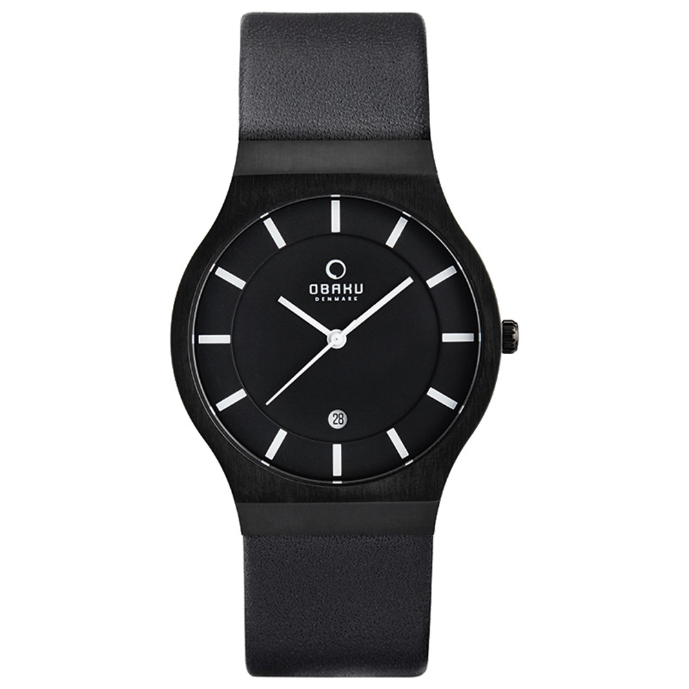 OBAKU 優雅時代極簡風腕錶-IP黑/皮帶款/38mm