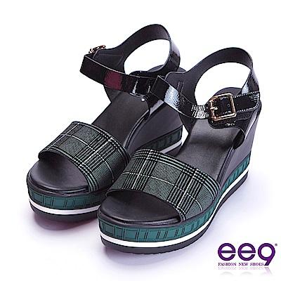 ee9 花漾年華鏤空露趾微透裸肌楔型跟涼鞋 綠色